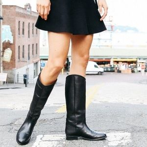 Frye Black Leather Melissa Button Riding Boots